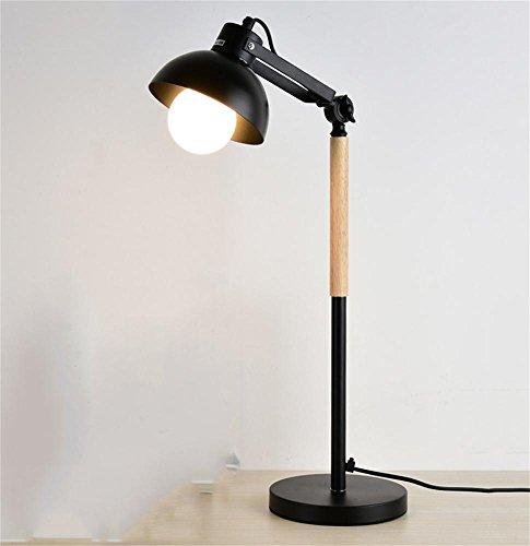 SKC Lighting-lampe de table Lampe de chevet de chambre d'étude nordique Lampe de table en bois massif Apprendre la lampe de table de lecture (Couleur : Noir)
