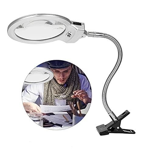Lámpara de Lupa LED Plegable 5X Luz lupa para Escritorio Lectura Periódicos Soldadura Trabajo Reparación Maquillaje Tatuaje Manicura Pedicure y ect