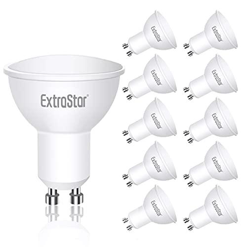 EXTRASTAR Bombillas LED GU10 5W, 400 Lúmen, Luz Cálida 3000K, Equivalente a 40 W Halógena, No regulable, Paquete de 10