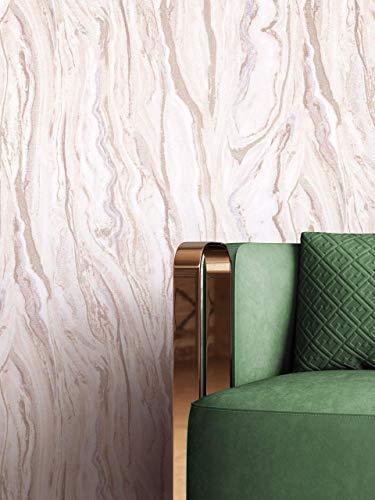 NEWROOM Tapete Rosa Vliestapete Marmor - Marmortapete Glamour Gold Weiß Modern inkl. Tapezier-Ratgeber