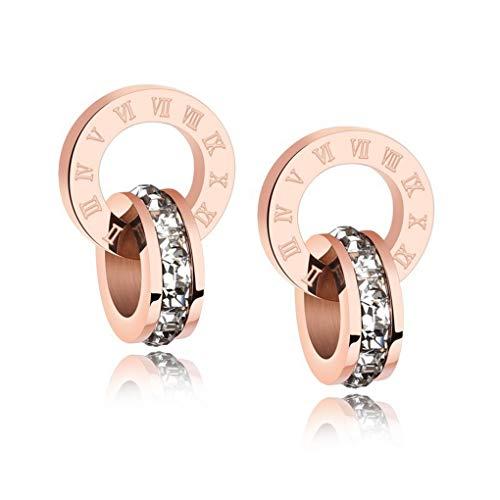 Blanco Crystals from Swarovski Redondo Circulo Pendientes 18k Chapado en oro rosa para mujer