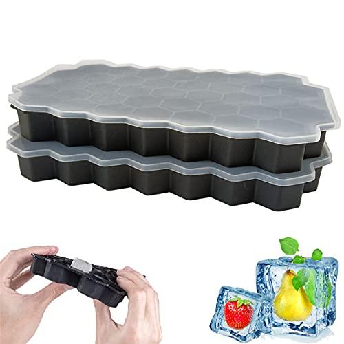 Cubiteras para Hielo con Tapa,Hielo Silicona Moldes,Bandejas para Hielo Silicona,Cubitos de Hielo Silicona Formas,Cubitos de Hielo con Tapa para Bebidas Refrigeradas (2 Piezas)