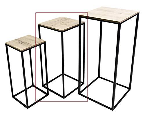 Hoher Beistelltisch Holz Metall Telefontisch Pflanzentisch Blumentisch Tisch (Mittlerer Tisch: 60 x 25 x 25 cm)