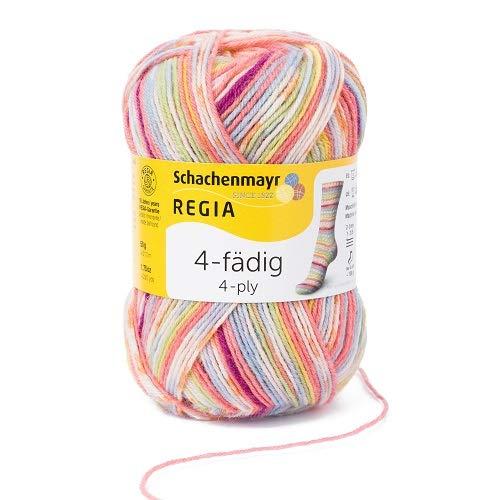 REGIA 4-fädig Color 9801281-01132 candy Handstrickgarn, Sockengarn, 50g Knäuel