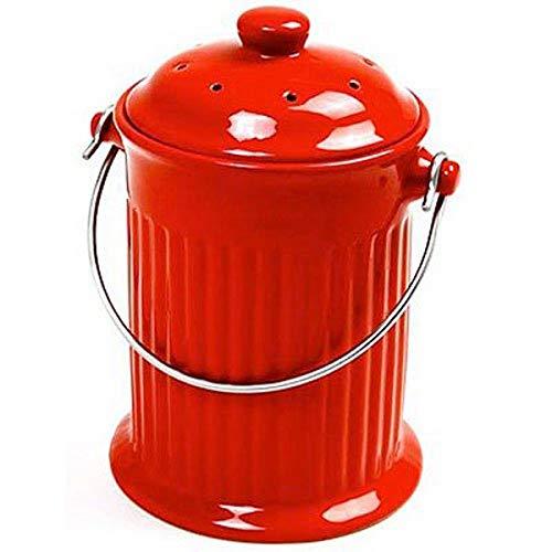 Mejor Odor-Free Compost Keeper Ceramic Crock - Red crítica 2020