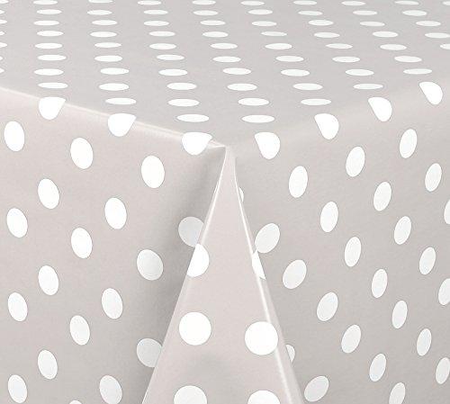 Wachstuchtischdecke Tischdecke Wachstuch abwischbar, Glatte Oberfläche Punkte Motiv Grau, Farbe + Größe wählbar 100x140 cm