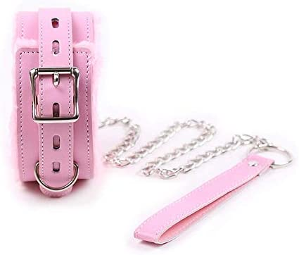 Soft Leather Collars Adjustable Choker with Chain Detachable Leash Rope Pink product image