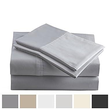 Peru Pima - 415 Thread Count - 100% Peruvian Pima Cotton - Percale - Bed Sheet Set (King, Slate)
