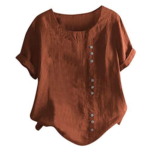 LOPILY Leinenoberteile Damen Große Größen Asymmetrische Oberteile mit Kurzarm Einfarbige Shirts mit Knopfleiste Lose Lässige Tops aus Leinen Sommer Freizeit Oberteile bis Gr.52 (Braun, Gr.52)