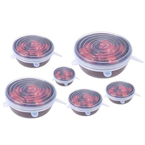 A-YSJ Couvercle Silicone 6pcs Silicone Extensible Couvercles Garder Les Aliments Frais réutilisable Extensible Silicone Food Saver Seal Couvercles Bowl Couvre Eco-Friendly Extensible (Color : White)