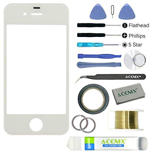 Acenix® Apple iPhone 4/4S bianco touch screen vetro anteriore obiettivo kit di sostituzione
