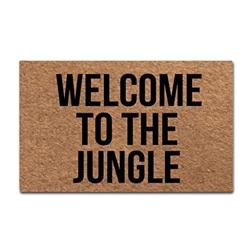 Sun&Home - Felpudo personalizable para puerta, diseño divertido y divertido, tela no tejida y antideslizante, caucho, Welcome to the Jungle, 15.7x23.6 inch