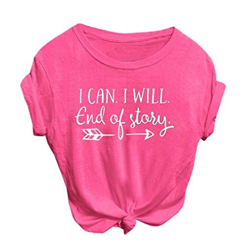 FONMA Women Fashion Casual T-Shirt O-Neck Letter Print Short Sleeve Top Blouses