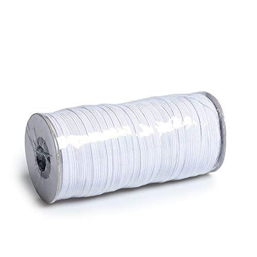 100Yards Length 1/4 Inch Elastic String Cord Heavy Stretch High Elasticity Knit Elastic Band for Sewing Craft DIY 6mm (White)