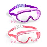 Elimoons Kids Swimming Goggles No Leaking Anti-Fog UV Protection Nose Cover Swim Goggles for Children Age 5-15 (2-Pack)