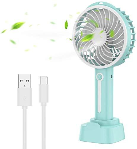 Woodtree Ventilador de Escritorio USB portátil con batería Recargable, Tres velocidades Ajustables for el hogar, la Oficina y Deportes al Aire Libre Color: (Color : Bleu)