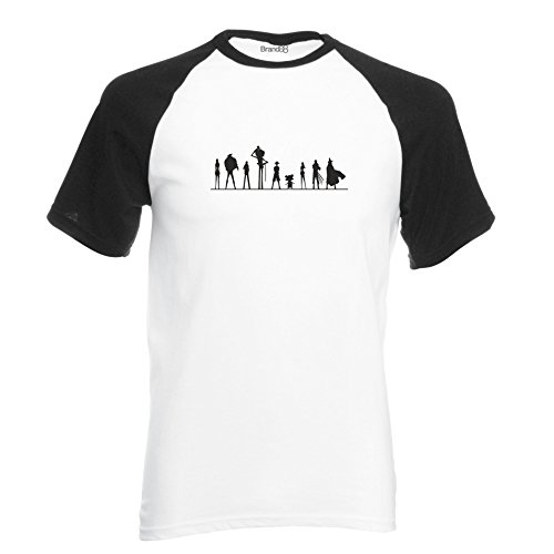 One Piece Cast T-Shirt de Baseball à Manches Courtes - Blanc/Noir/Noir M (96-101 cm)