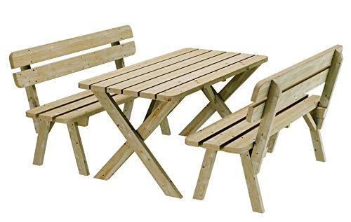 PLATAN ROOM Gartenmöbel aus Kiefernholz 120 cm / 150 cm / 170 cm breit Gartenbank Gartentisch Kiefer Holz massiv Imprägniert (Set 1 (Tisch + 2 Bänke), 170 cm)