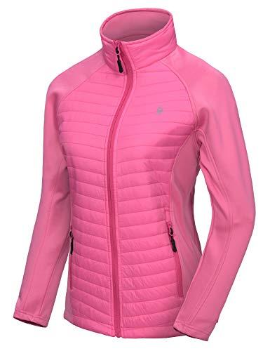 Little Donkey Andy Isolierte Wanderjacke für Damen,Thermo Running Hybrid Jacke, Leicht, atmungsaktiv und warm Pink XS
