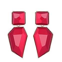 Ruby Acrylic Geometric Rhinestone Statement Drop Earring