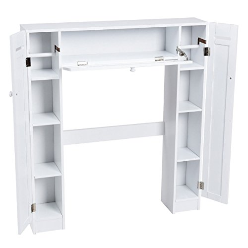 USA_BEST_SELLER Wooden Over The Toilet Storage Cabinet with Doors Keep Tissue Deccor Drop Door Spacesaver