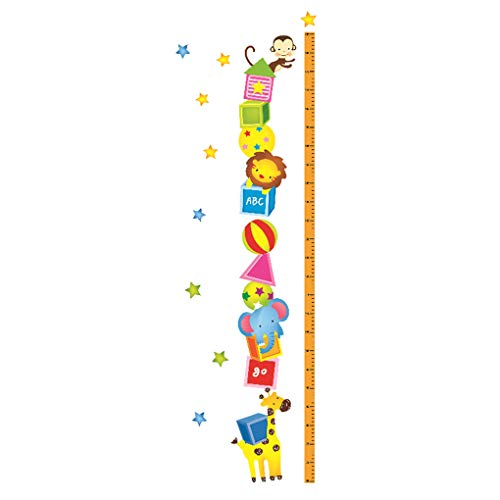 Cartoon Animals Height Measurement Wall Stickers Growth Chart Removable Wall Decals Home Decor Art Mural Baby Boys Girls Kids Bedroom Kitchen Room Decoration (Cute Cartoon Animal Height Measurement)