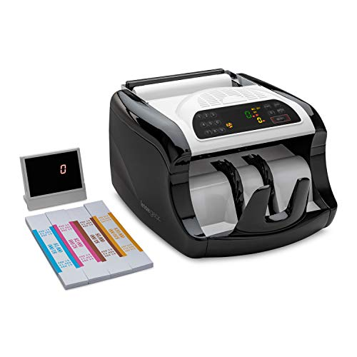 Knox Gear Cash Bill Counter with UV/MG/IR Detection – LED Display, Batch Modes, 1,000 Notes Per Minute,Includes 240 Currency Straps