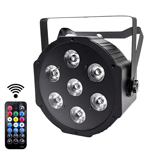 UKng Luci da DJ LED Par DMX Luci da Palco 7Leds RGBW Faretto Effetto Luce con Telecomando Wireless 8 Modalità Illuminazione Palco per Luci Discoteca Matrimonio Bar Party Light