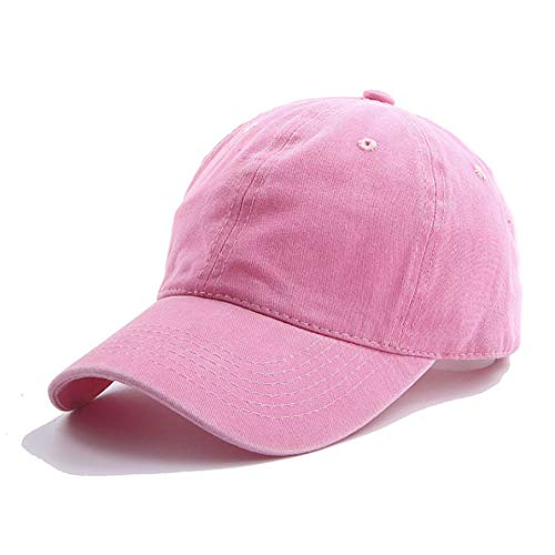Eohak Kids Distresed-Washed Baseball Hat Infant Toddler Baby Boy Cotton Hats Distresed for 2-8 Years Pink