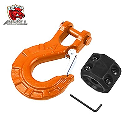 """AMBULL Heavy Duty Forged Steel 3/8"""" Grade 70 Safety Latch Winch Cable Hook Stopper & Clevis Slip Hook Sets, Included Allen Wrench,Max 35,000 lbs, Orange"""