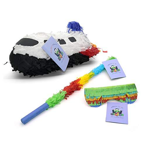 Nislai® Rakete Rocket Pinata Set | ideal für die Rakete Weltraum Party | Pinata Geburtstag | Pinata Geschenk | Astronaut Party | großer Spaß zum Schlagen | inkl. Augenmaske & Stab | u. 40x25x23 cm
