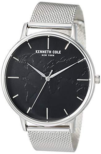 Kenneth Cole New York Reloj de cuarzo masculino con correa de acero inoxidable, plateado, 20 (Modelo: KC50785004)