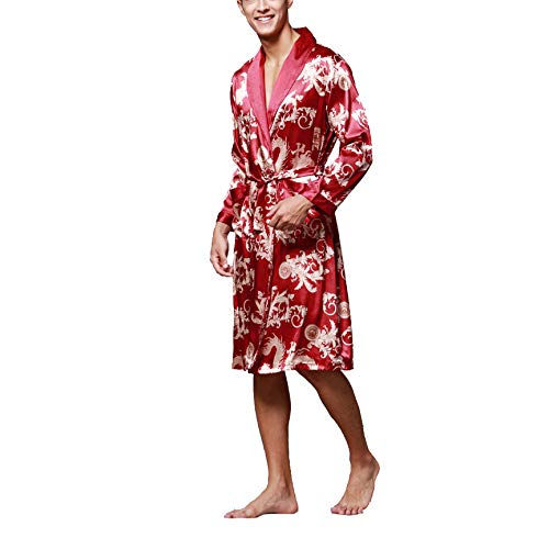 HANGYIKJ Long Sleeve Pyjamas Herren Bademantel Long Home Service
