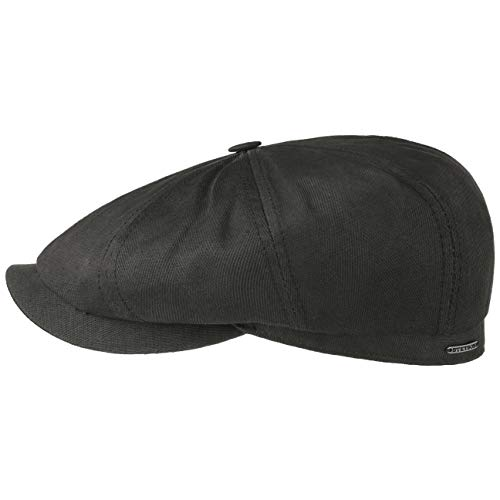 Stetson Hatteras Cotton-Mix Flatcap Schirmmütze Ballonmütze Baumwollcap Newsboy-Mütze Herren - Made in The EU mit Schirm, Futter, Futter Frühling-Sommer - 59 cm dunkeloliv