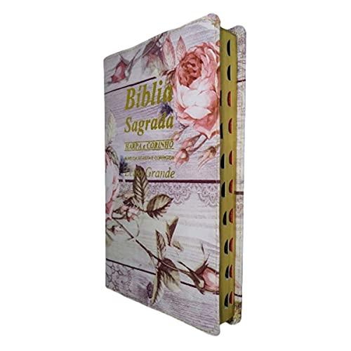 Bíblia Letra Grande Capa Flores Rosas Com Harpa Ed Promessas