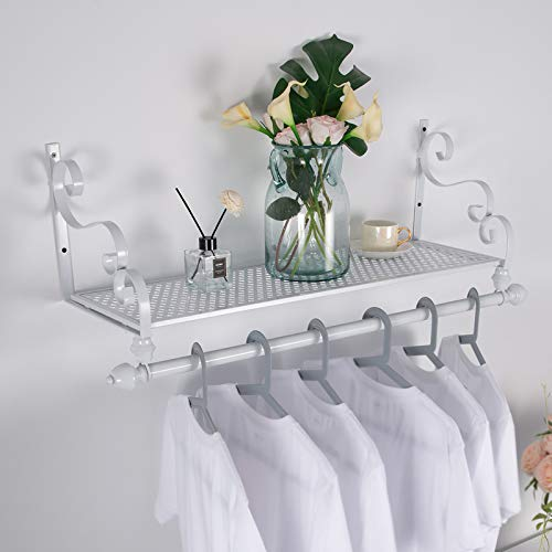 Nicheo Storage Wrought Iron Coat Rack Shelf Wall Mounted Hanging Closet with Clothing Rods Garment Hanger for Daily Clothes Hat Bag and More Ideal Organizer for House 315 White