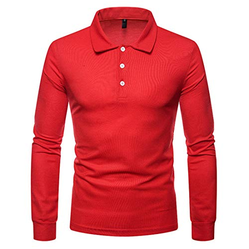 Men Tops Men T Shirt Long Sleeve Lapel Comfortable and Casual Pure Color Simple Business Men Polo Shirt Autumn Slim Button Placket Formal Occasion Men Polo Shirt G-Red XXL
