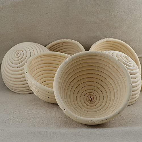 MXEHC Molde de Pastel Redondo Óvalo Largo Ratán Pan Proof Cesta Molde Pan Freaddough Basket Cesta Rectangular Fermento Pan Horneado Molde Molde de Chocolate (Color : 25x8cm Round)