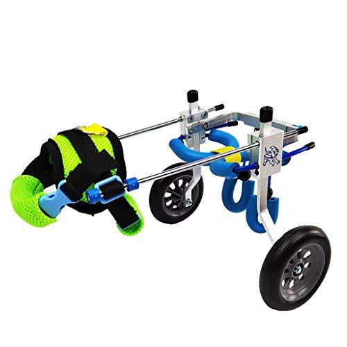 Hondenrolstoel, hondenrolstoel - Geschikt voor 5-130 pond honden - hondenwagen - hondenhelp beenbelemmering - achterpoten revalidatie - loophulp - 2 wielen rolstoel laag gewicht (meerdere X-Small