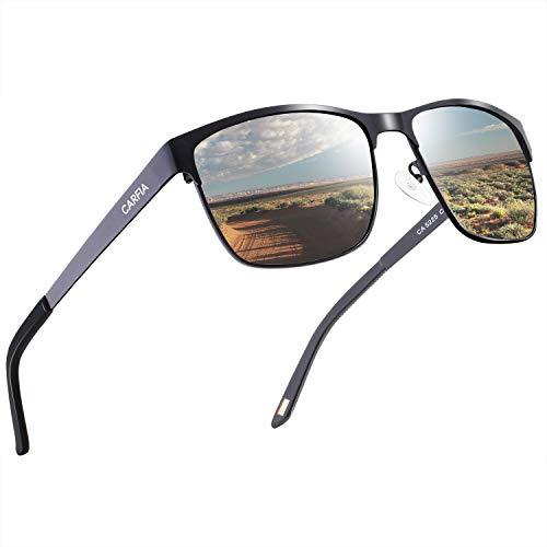 Carfia Polarisierte Herren Sonnenbrille Metallrahmen UV 400 Fahrerbrille Sportbrille Kategorie 3, Einheitsgröße, Metall Gestell: Schwarz, Gläser: Silbrig