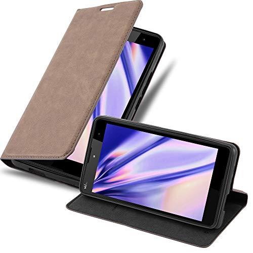 Cadorabo Hülle für Wiko Robby - Hülle in Kaffee BRAUN – Handyhülle mit Magnetverschluss, Standfunktion und Kartenfach - Case Cover Schutzhülle Etui Tasche Book Klapp Style