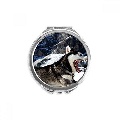 DIYthinker dog big mouth neige husky miroir de maquillage ronde de poche à la main portable 2,6 pouces x 2,4 pouces x 0,3 pouce Multicolore
