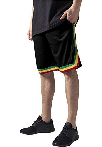 Urban Classics Stripes Mesh Shorts TB243, Größe:S;Farbe:black/rasta