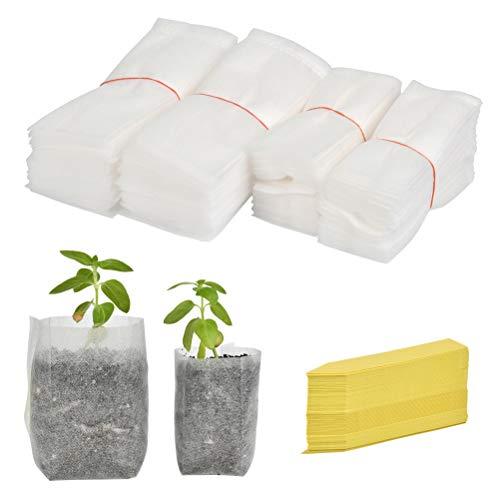 FOCCTS 200 Stück Vlies-Baumschulbeutel Biologisch abbaubare Pflanzenanbau-Umweltbeutel Sämlingstöpfe Pflanzenbeutel Gartenbedarf, mit 100 Etiketten (10 x 12 cm / 14 x 15 cm)