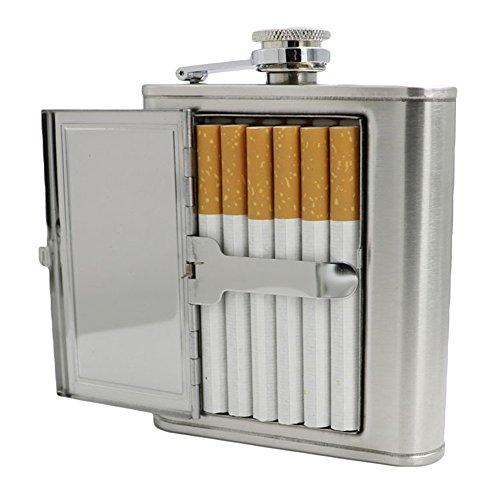 SoundsBeauty - Petaca portátil de acero inoxidable para whisky con funda para cigarrillos