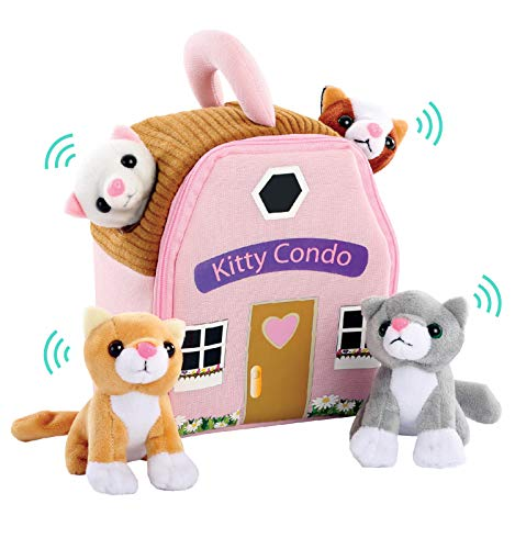Etna 5-Piece Plush Meowing Cat Condo Toy Playset with Sounds