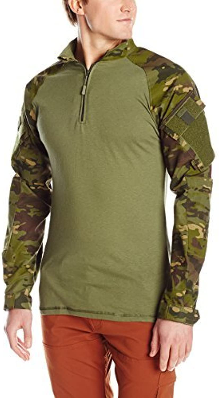 TRU-SPEC Men's 1 4 Zip Combat Shirt, Multicam Tropic Olive Drab, Large Long by Tru-Spec
