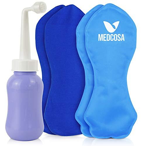 Medcosa - Kit posparto de compresas perineales de gel frío y 1 bote para asear la zona   Bolsas de frío reutilizables y bote con cabezal de spray recargable para el dolor del periné tras el parto