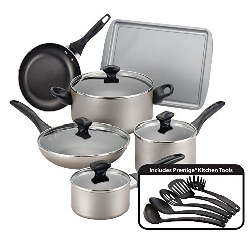 Farberware Dishwasher Safe Nonstick Cookware Pots and Pans Set, 15 Piece, Champagne