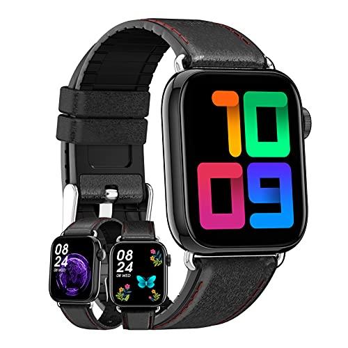 HQPCAHL Smartwatch Reloj Inteligente Mujer Hombre Pulsera Actividad Inteligente con Podómetro Pulsómetro Monitor De Sueño Reloj Deportivo Impermeable IP67 para Android Y iOS,Negro